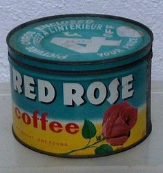 Vintage RED ROSE coffee tin can store advertising display