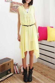 Sheer Irregular Hemline Dress with Letter Print Vest Inside