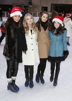 Actors Shay Mitchell Ashley Benson Troian Bellisario and Lucy Hale attend ABC Family's Winter Wonderland at The Rock Center Cafe at Rockefeller...