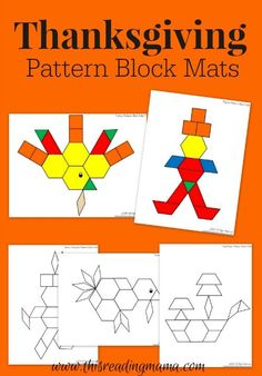 Thanksgiving Mats for Pattern Blocks FREE Thanksgiving Pattern Block Mats Thanksgiving Preschool, Fall Preschool, Kindergarten Activities, Preschool Activities, Thanksgiving Ideas, November Preschool Themes, Preschool Shapes, Shape Activities, November Thanksgiving