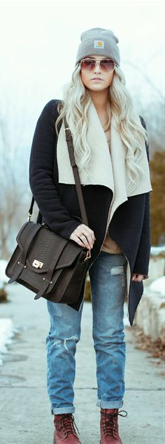 Cute warm casual street style