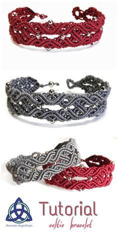 this Macrame tutorial video you will see how to make Macrame Bracelet Celtic Knot Design Macrame Jewelry, Macrame Bracelets, Handmade Bracelets, Handmade Jewelry, Macrame Knots, Jewelry Bracelets, Jewelry Knots, Braided Bracelets, Wire Jewelry