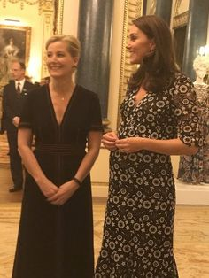 The Duchess of Cambridge in rather a nice Erdem dress tonight and the Countess of Wessex in Burberry #Commonwealth Fashion Exchange reception at Buckingham Palace – Rebecca English
