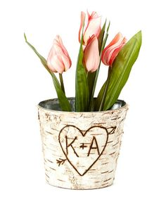 Short Initials Birch Bark Vase