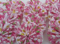 Fabric yoyos 25 daisy and pink  2 inch round ready to ship. $5.00, via Etsy.