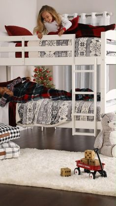 Elevate bedtime with the new Leighton Twin-Over-Twin Bunk Bed from Better Homes & Gardens at Walmart. #kidsroom #kidsbedroom #kidschristmas #bunkbeds #bunkbedideas #cozybedroom #holidaybedroom #twinbeds #bedroomfurniture #kidsfurniture Solid Wood Bunk Beds, White Bunk Beds, Twin Bunk Beds, Kids Bunk Beds, Cozy Bedroom, Kids Bedroom, Creative Kids Rooms, Mattress Springs, Affordable Furniture