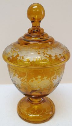 Bohemian amber cut glass candy dish
