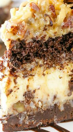 Outrageous Chocolate Coconut Cheesecake Outrageous Chocolate Coconut Cheesecake Cake ~ Layers of brownie, coconut chocolate chip cheesecake, chocolate cake and coconut pecan filling, it's an over-the-top mix of so many delicious things! Chocolate Coconut Cheesecake Recipe, Coconut Chocolate, Coconut Pecan, German Chocolate Cheesecake, Chocolate Chocolate, Coconut Cream Pies, German Chocolate Cake Frosting, German Chocolate Pies, German Chocolate Brownies