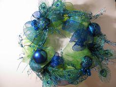 Holiday Christmas deco mesh wreath turquoise/peacock $45