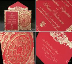 Wedding Invitation - festive red and gold