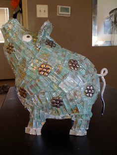 mosaic pig  lawn decoration by WittsWhimsy on Etsy
