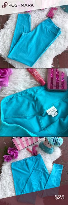 Victoria's Secret💙Leggings! Sz M Victoria's Secret💙Leggings! •Nice used condition •Older style, thicker not see through •Pretty turquoise blue shade •Very soft & comfortable:) Victoria's Secret Pants Leggings