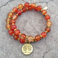 Stability and Motivation, genuine faceted carnelian gemstone 27 bead m – Lovepray jewelry