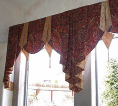 curtain swags for double windows . Swag Curtains, Dining Room Curtains, No Sew Curtains, Curtains Living, Rod Pocket Curtains, Custom Curtains, Curtain Valances, Scarf Valance, Window Curtains