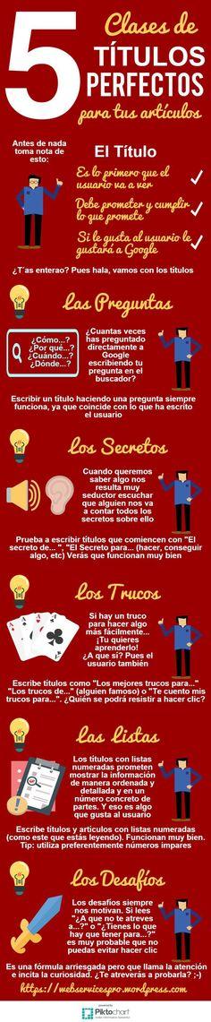 5 clases de títulos perfectos para tus artículos. Infografía en español. #CommunityManager