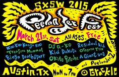 Peelander Festival feat. Peelander-Z, Ringo Deathstarr, A Giant Dog, and More   Saturday, March 21, 2015   12-7pm   The Grackle: 1700 E. 6th St., Austin, TX 78702   Free all-ages show with 10 bands   Lineup & RSVP via Do512: http://2015.do512.com/peelanderfestival2015