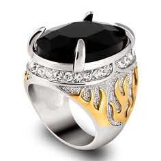 Wholesale Retro Black Crystal Men Ring With Rhniestpne Stone Male Cool Jewelry Gold Color Mens Signet Big Knuckle Rings