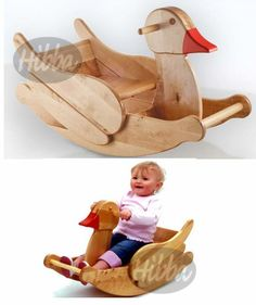 Childs Wooden Rocking Duck Beautifully Hand Crafted, £119.99