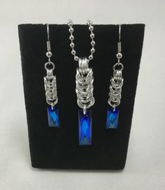 Excited to share the latest addition to my #etsy shop: Swarovski Blue Baguette Crystal Box Chain Chainmaille Earring and Necklace Set Silver