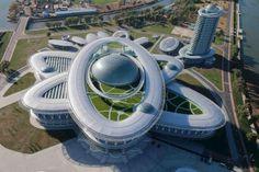 a Sci-Tech Complex in Pyongyang, North Korea Futuristic Architecture, Amazing Architecture, Architecture Design, Science Center Architecture, Organic Architecture, Building Architecture, Futuristic Design, Architecture Portfolio, Future Buildings