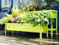 Fabulous contemporary tubular steel split level planter with Anti-UV coating to prevent fading shows off container planting to maximum effect. This is expensive but worth it!