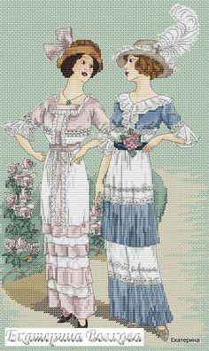 0 point de croix femmes mode vintage - cross stitch fashion of vintage ladies 5