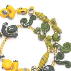 Ombre elegant necklace in yellows greens and blues by ShuliDesigns, $56.00