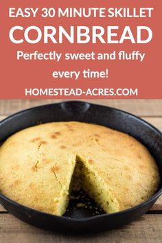 MOIST SKILLET CORNBREAD - Try this easy cornbread recipe it's a family favourite that comes out perfect every time! Light and fluffy with just the right amount of sweetness and it's ready in 30 minutes too. Moist Cornbread, Skillet Cornbread, Homemade Cornbread, Sweet Cornbread, Cornbread Recipes, Homemade Breads, Fun Easy Recipes, Dinner Recipes