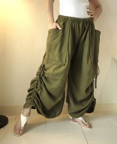 Love Me..Love Me Not II - Steampunk Dark Green Double Gauze Cotton Convertible Skirt Or Pants And 2 Roomy Pockets