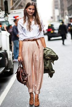 We absolutely adore this satin trouser street style look.
