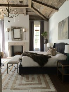 Don't like the chandelier or the headboard but with some tweaks this is gorgeous.