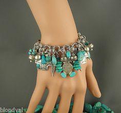 Vintage Turquoise CHARM Bracelet STORYTELLER Concho Heart JOAN SLIFKA Cross x2