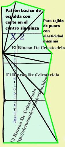 Patrón de espalda con corte en el centro ajustado para telas en tejido de punto                                                                                                                                                      Más                                                                                                                                                     Más
