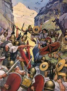 Celtiberians ambushing a Roman patrol. The war in Spain after the conclusion of the Punic wars was without doubt one of Rome's most vicious conflicts. There was little quarter given by either side and was only resolved when the Romans took the town of Numantia.