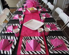Zebra Print Party Supplies  www.supplies.eventioneers.com 7th Birthday, Birthday Parties, Birthday Ideas, Party Time, Party Fun, Party Ideas, Zebra Print Party, Party Table Decorations, Kids Party Supplies
