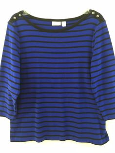 Chico's 2 100% #CottonTop. Black & Blue Striped. Boat neck, pullover knit blouse. Size 12 14 M L. #Chicos
