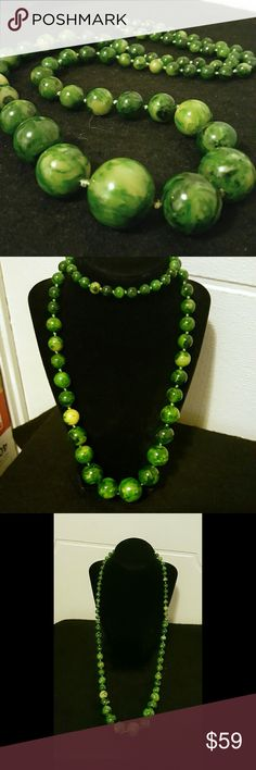 Marble Green Vintage Bakelite Necklace Long Vintage Genuine Bakelite Graduated Marble Green Necklace Long Length, Perfect for Bold Statement Wear or Add to your Collection! Bakelite Jewelry Necklaces
