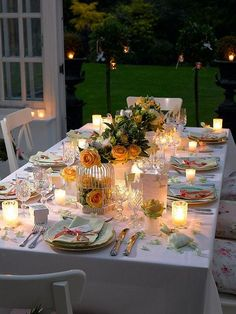 Beautiful outdoor dining look with candlelight for ambience. Would be nice for a graduation dinner. Use Candle Impressions LED candles instead so you can leave it all unattended without any fire concerns.