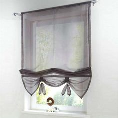 German Style Liftable Window Curtains Nice Sheer Voile Roman Curtain Tulle Blinds For The Kitchen Balcony Rod Pocket Balcony Curtains, Roman Curtains, Voile Curtains, Floral Curtains, Kitchen Curtains, Window Curtains, Bathroom Curtains, Outdoor Curtain Rods, Pipe Curtain Rods