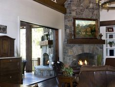Rustic Lakehouse - rustic - living room - other metro - Wright Design   Like the combination of light and dark woodwork