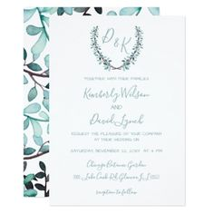 Watercolor Laurel Leave Monogram Wedding Card - spring wedding diy marriage customize personalize couple idea individuel