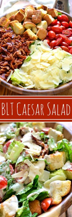 BLT Caesar Salad combines the delicious flavors of a BLT with the simple perfection of Caesar Salad. The perfect side or main dish, this salad comes together quickly and is sure to be a hit! #marzetti #fortheloveofproduce #ad