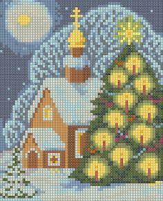 Xmas moonlight snow scene X-stitch pattern Cross Stitch House, Xmas Cross Stitch, Beaded Cross Stitch, Cross Stitch Art, Modern Cross Stitch, Cross Stitch Designs, Cross Stitching, Cross Stitch Embroidery, Cross Stitch Patterns