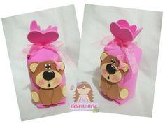 Embalaje sorpresa ursinha marrón y rosa   dalva @ Arte   385B2A - Elo7