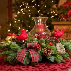 Christmas Centerpieces for the Holidays Rustic Christmas Crafts, Christmas Candle Decorations, Christmas Flower Arrangements, Christmas Lanterns, Holiday Centerpieces, Christmas Tablescapes, Noel Christmas, Christmas Themes, Christmas Wreaths