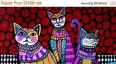 50 % de réduction Storewide blanc-chats Folk Art Poster impression peinture noir et blanc arlequin (HG899)
