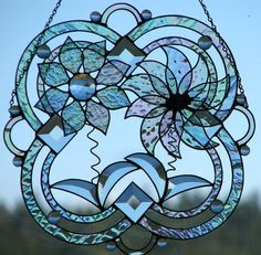 Stained Glass Suncatcher with Flowers in by BayCreationsbyWendy, $125.00