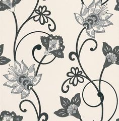 Black & White (BW28718) - Galerie Wallpapers - A beautiful stylized floral trail with patterning on the petals. Showing in contrasting black, metallic silver and white. Please request a sample for true colour match.