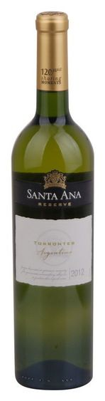 In stock - 5,80 € 2012 Santa Ana Reserve Torrontes, white dry , Argentine - 87pt Beautiful representative of the typical white variety, which is one reigns supreme in Argentina. Torrontes Reserva is full of spice tones and chamomile. Short stays in oak give this wine a fuller body but when it is still fresh flavor.