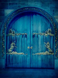 blue door with a unicorn